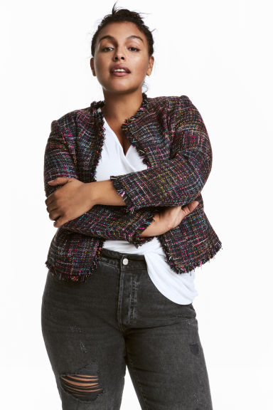 H&M+ Textured jacket - Black/Checked - Ladies | H&M