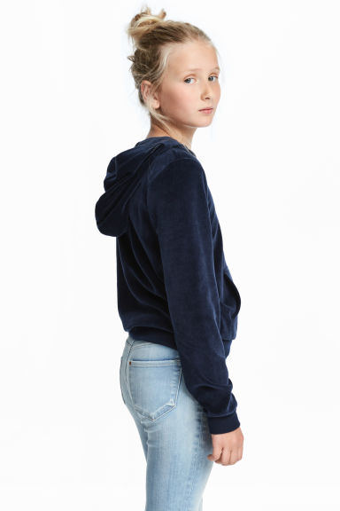 Hooded jacket - Dark blue/Velour - Kids | H&M