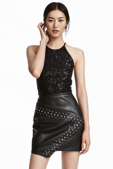 Sequined crop top - Black - Ladies | H&M