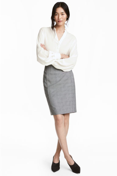 Pencil skirt - Grey/Dogtooth - Ladies | H&M