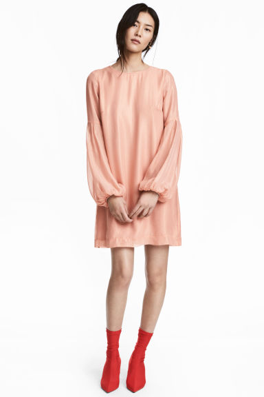Silk-blend dress - Powder pink/Striped -  | H&M CN