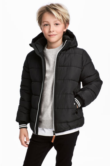 Padded jacket with a hood - Black -  | H&M IE