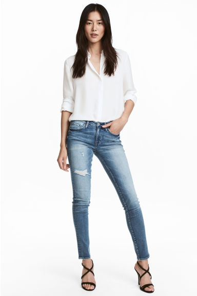 Skinny Low Trashed Jeans - 丹寧藍 -  | H&M