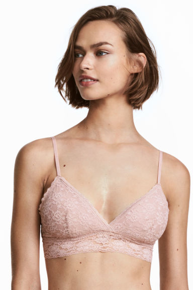2-pack padded lace bras - Old rose/Black - Ladies | H&M