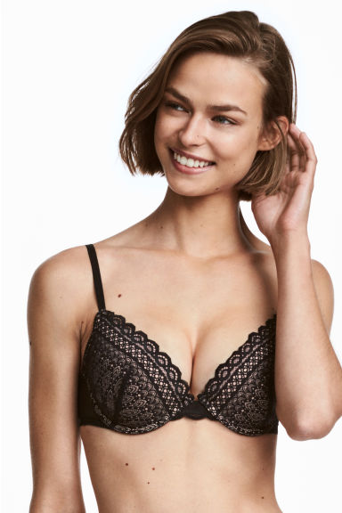 Lace push-up bra - Black - Ladies | H&M
