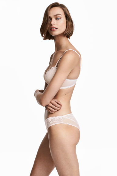 Lace bikini briefs - Light beige -  | H&M GB