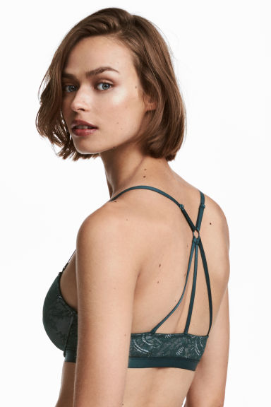 Reggiseno push-up in pizzo - Turchese -  | H&M IT