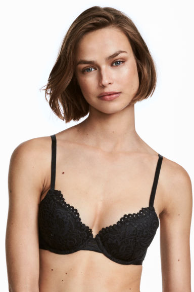 Padded lace bra - Black -  | H&M GB