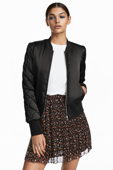 Short satin bomber jacket - Black -  | H&M