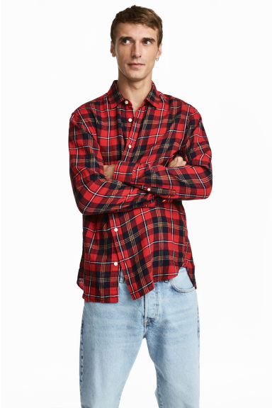 Checked shirt Regular fit - Red/Checked - Men | H&M CN