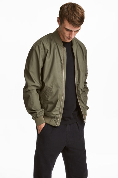 Cotton bomber jacket - Khaki green - Men | H&M GB