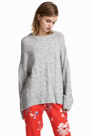 Knitted jumper - Light grey marl - Ladies | H&M CN
