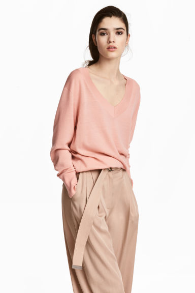 Fine-knit merino wool jumper - Light pink -  | H&M IE