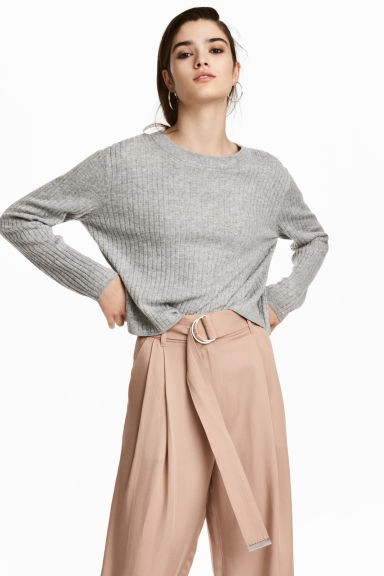 Ribbed jumper - Light grey - Ladies | H&M CN