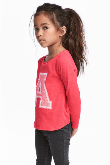 Long-sleeved top - Raspberry pink -  | H&M CN
