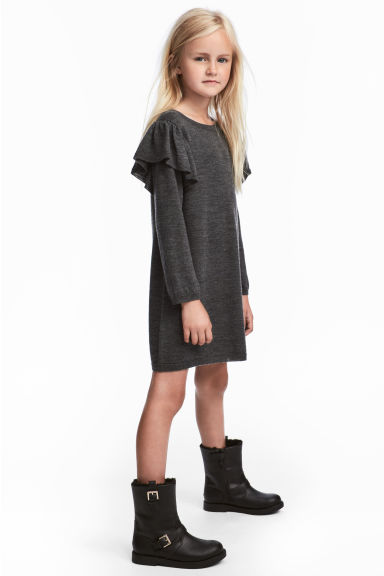 Merino wool dress - Dark grey - Kids | H&M GB