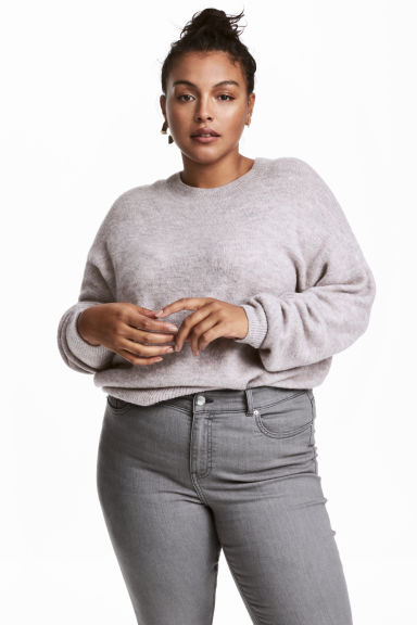 H&M+ Knitted jumper - Light grey marl - Ladies | H&M