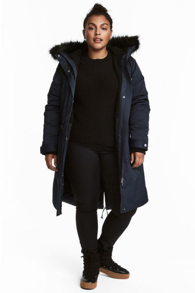 H&M+ Padded parka - Dark blue - Ladies | H&M IE