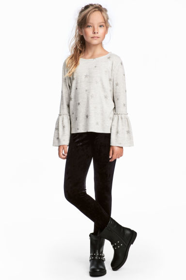 Velvet leggings - Black - Kids | H&M CN