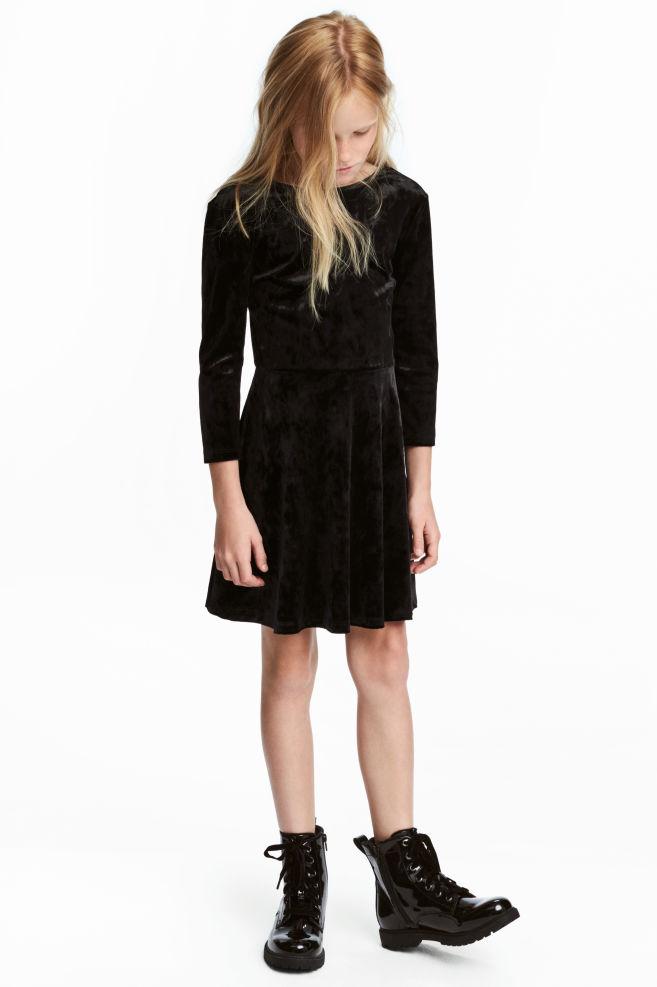 a508312984df13 Velours jurk met lange mouwen - Zwart - KINDEREN