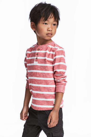 Henley shirt - Red/White striped - Kids | H&M