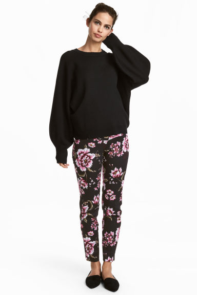 MAMA Cigarette trousers - Black/Floral - Ladies | H&M GB