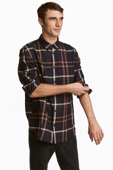 Camicia flanella Regular fit - Nero/marrone righe - UOMO | H&M CH