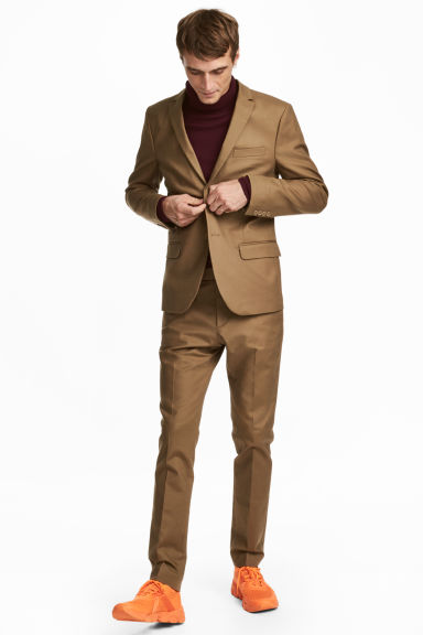 Cotton suit trousers Slim fit - Dark beige - Men | H&M CN