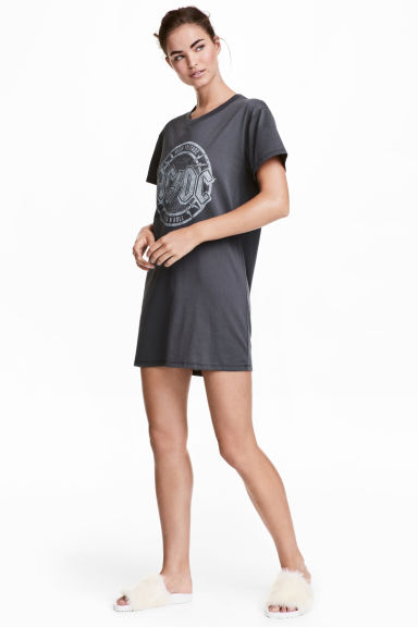 Printed nightdress - Grey/AC/DC - Ladies | H&M