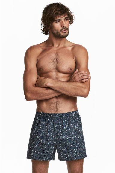 3-pack woven boxer shorts - Dark blue/Patterned - Men | H&M GB