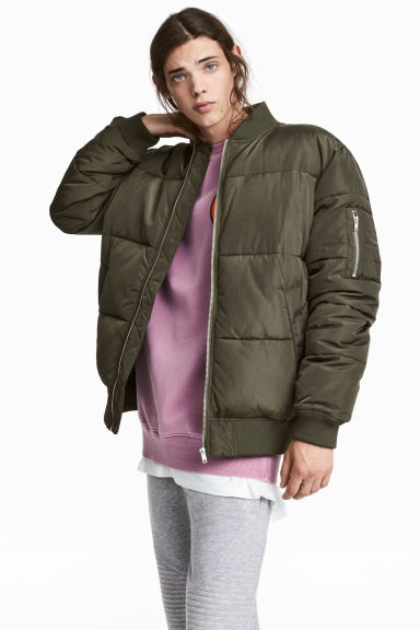 Quilted bomber jacket - Khaki green -  | H&M