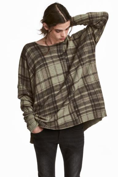 Ribbed jumper - Khaki green/Checked - Men | H&M