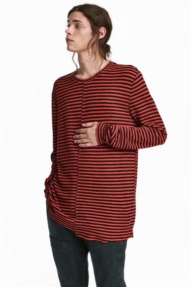 Long-sleeved top - Red/Black striped - Men | H&M