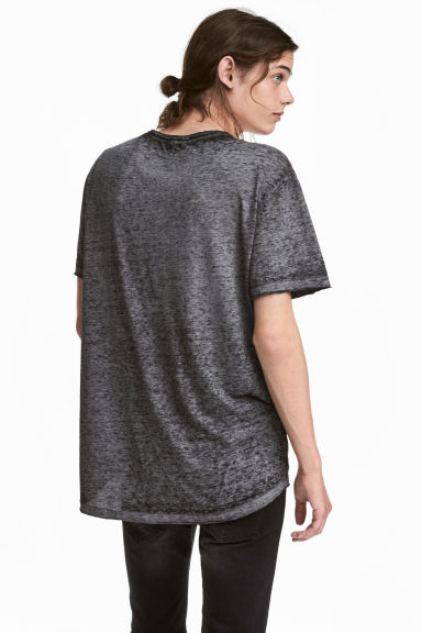 Burnout-patterned T-shirt - Grey/Black - Men | H&M