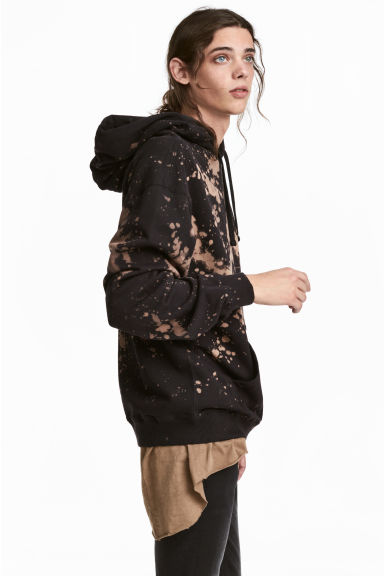Bleached hooded top - Black/Acid -  | H&M