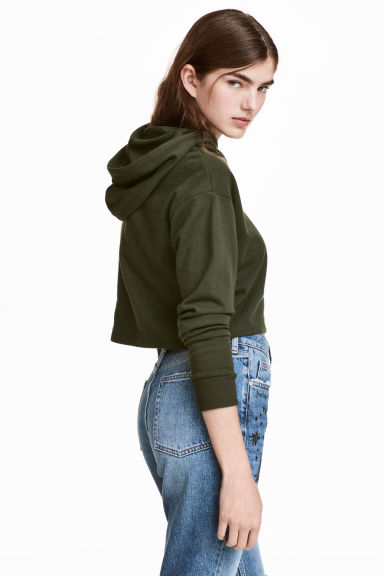 Cropped hooded top - Dark green -  | H&M