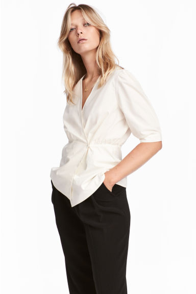 Wrapover cotton blouse - Natural white -  | H&M