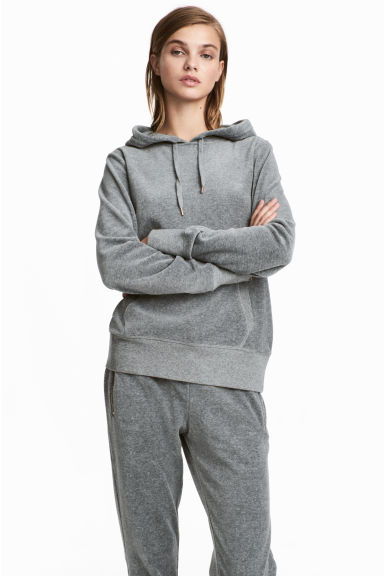 Velour hooded top - Light grey -  | H&M IE