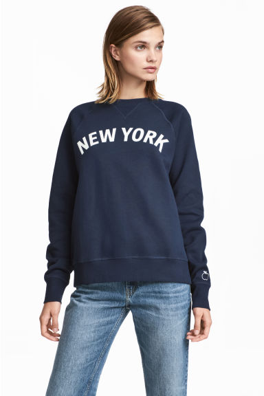 Printed sweatshirt - Dark blue - Ladies | H&M GB
