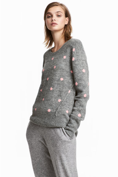Knitted jumper - Grey/Pink spotted - Ladies | H&M GB