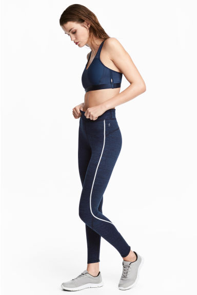 Winter running tights - Dark blue marl -  | H&M GB