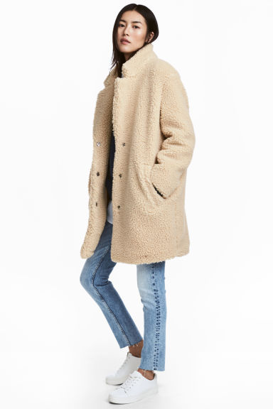 Short pile coat - Beige -  | H&M