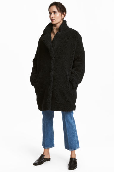 Short pile coat - Black - Ladies | H&M CN