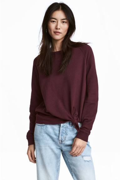 Sweatshirt with a knot - Burgundy -  | H&M GB