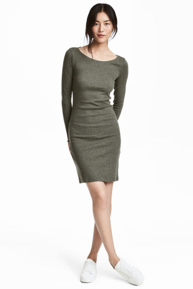 Fitted jersey dress - Khaki green/Marled - Ladies | H&M