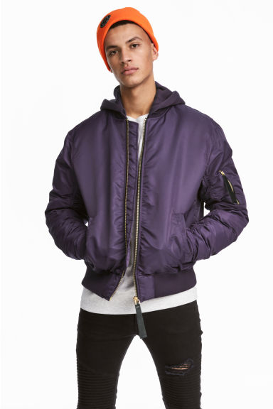 Padded bomber jacket - Purple - Men | H&M GB