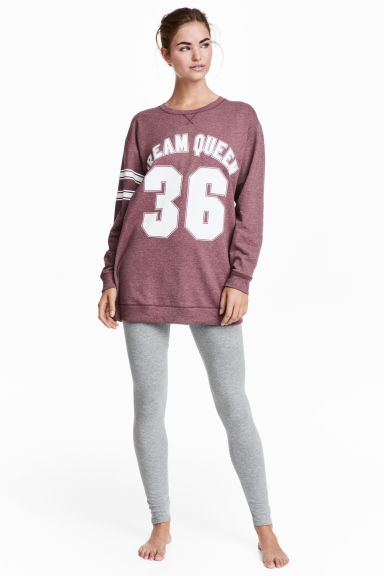 Pyjamatop en -legging - Bordeauxrood -  | H&M NL