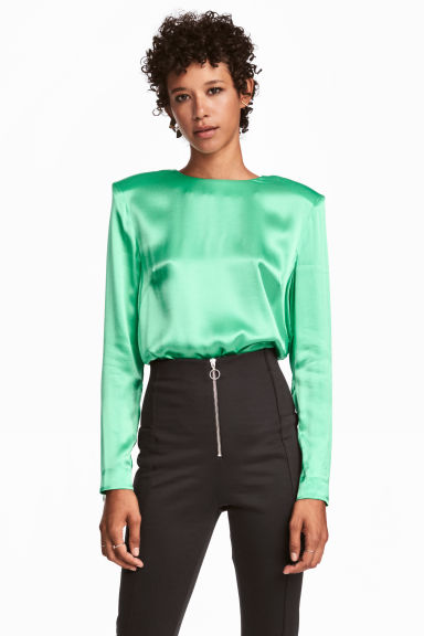 Satin top - Light green -  | H&M CN