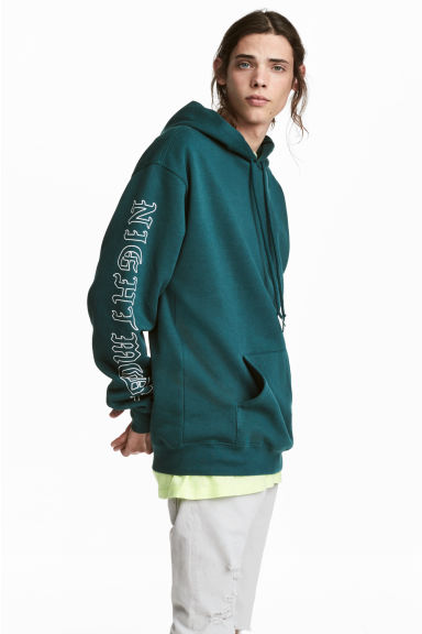 Hooded top with a print motif - Dark turquoise - Men | H&M GB