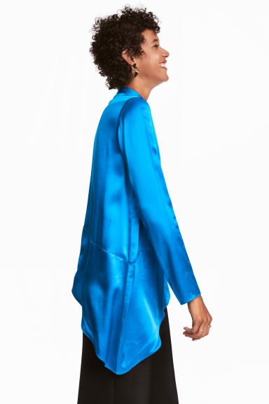 Asymmetric satin blouse - Bright blue -  | H&M IE
